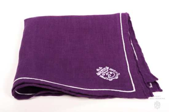 Purple Linen Pocket Square with Silver Grey Contrast Embroidery - Fort Belvedere