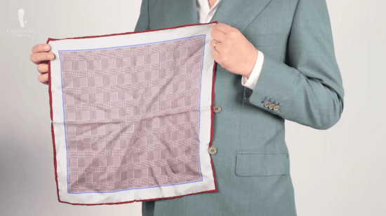 Red Prince Of Wales check pocket square