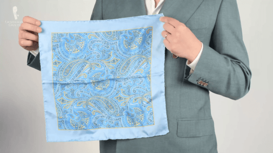 Blue & yellow paisley pocket square