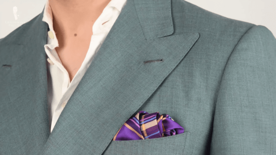 Purple and yellow pocket square