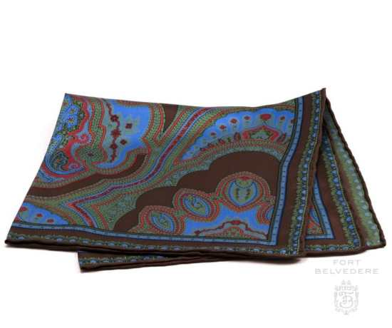 Silk Pocket Square in Brown with Blue, Green, Red Large Paisley Pattern- Fort Belvedere