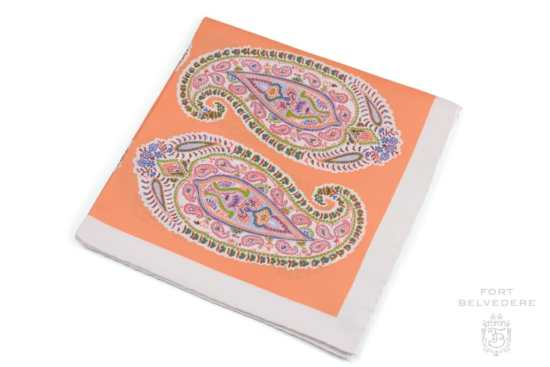 Silk Pocket Square in Orange, Blue, Green,Red and White with Large Paisley Pattern - Fort Belvedere