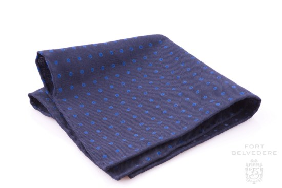 Wool Challis Pocket Square in Navy with Blue Polka Dots Fort Belvedere