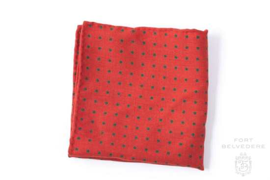Wool Challis Pocket Square in Orange with Green Polka Dots - Fort Belvedere