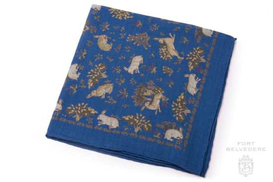Pale Green Rabbits on Mid Blue Silk Wool Pocket Square - Fort Belvedere