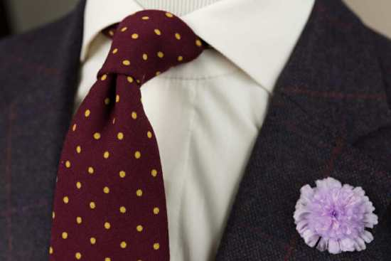 Fort Belvedere Burgundy Wool Tie with Yellow Polka Dots