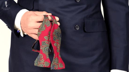 Bold paisley bow tie