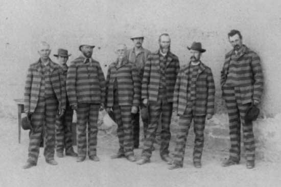 A group of convicts in the Utah Penitentiary, 1880s.
