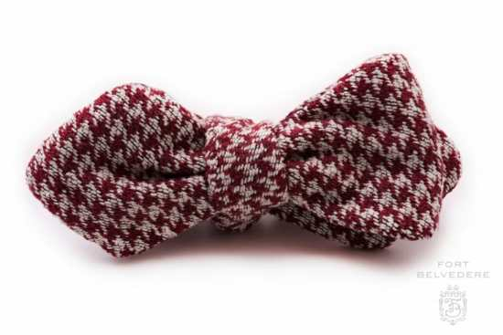 Houndstooth Silk Bourette Bow Tie Burgundy Cream - Fort Belvedere