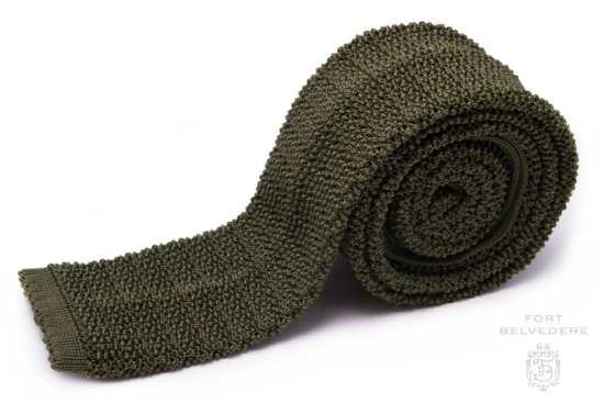 Olive Green Silk Knit Tie Cri de la Soie Fort Belvedere-cover