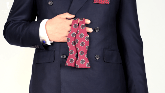 Red, wine and purple bow tie