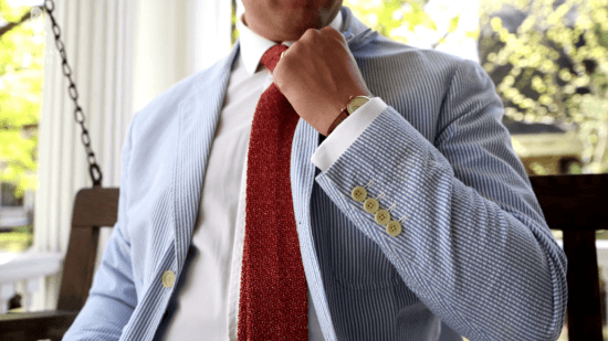 Sven Raphael Schneider wearing a seersucker suit