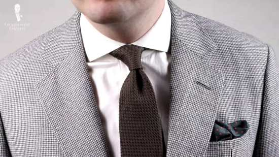 Hondstooth jacket with grenadine tie and pocket square from Fort Belvedere