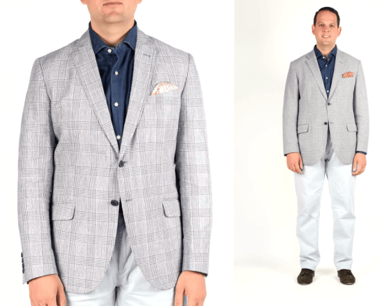 Patterned sport coat with denim shirt