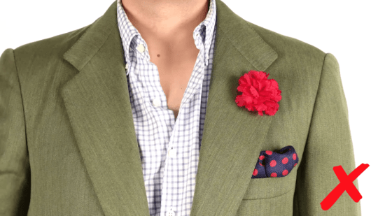 Avoid loud boutonnieres and pocket squares
