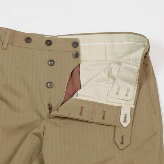 Button closures on a pair of pants