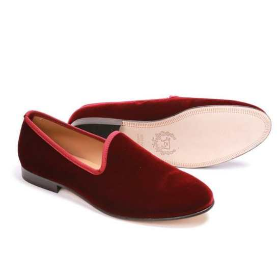 Del Toro velvet albert slippers in wine red