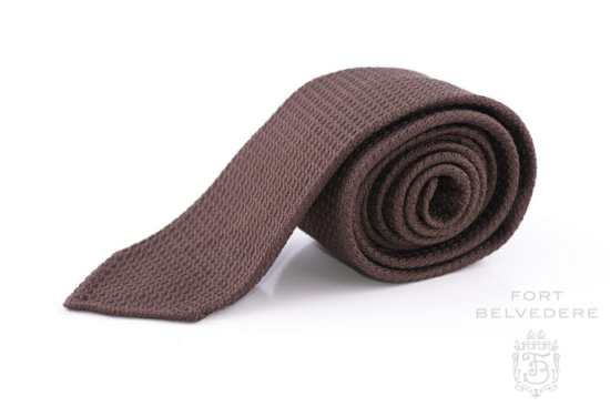 Grenadine Silk Tie in Brown - Fort Belvedere