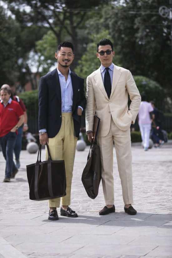 Ethan Wong wearing high-rise trousers