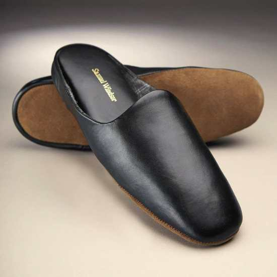 Men's Leather Mule Slippers