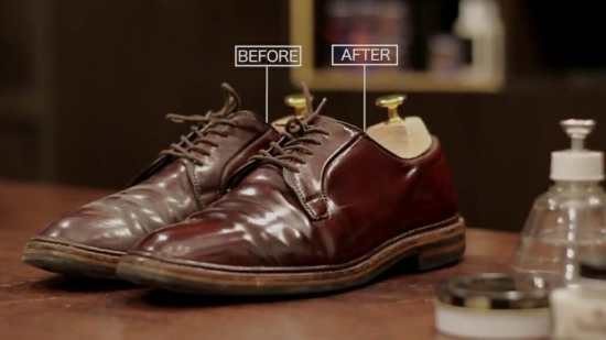 Shell Cordovan before and after Saphir cordovan polish