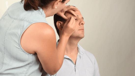 Sven Raphael & Teresa having an eyebrow grooming session