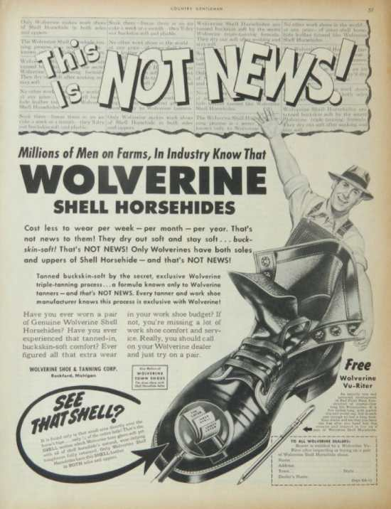 Vintage Wolverine shell cordovan boot ad