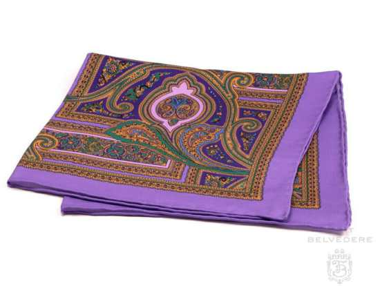 Fort Belvedere Pocket Square with Purple Border