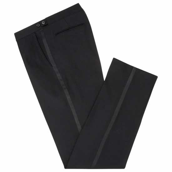 Typical black-tie trousers, featuring side adjusters and a silk stripe (or galon/braid).