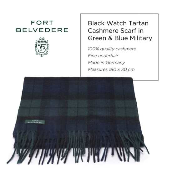 Black Watch Tartan Cashmere Scarf in Green & Blue