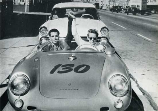 James Dean & Rolf Wutherlich in Dean's Porsche, photographed on what would be Dean's final journey.