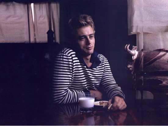 Dean in a Breton shirt with a blue, polo-style collar.