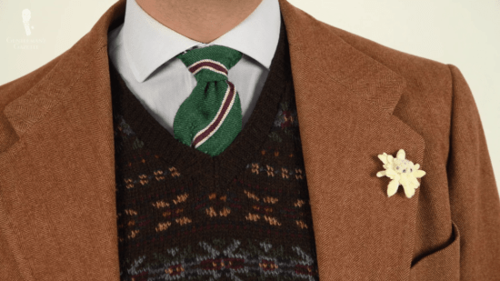 Brown sport coat with fair isle vest and Fort Belvedere accessories