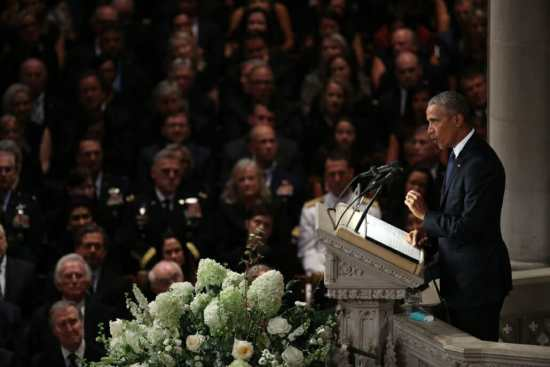 President Obama delivers a eulogy at John McCain's funeral