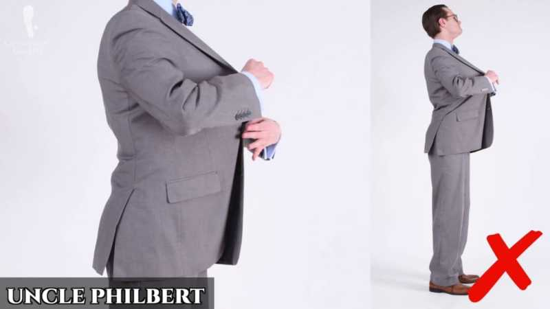 """Preston as """"Uncle Philbert"""" in a suit that's much too big."""