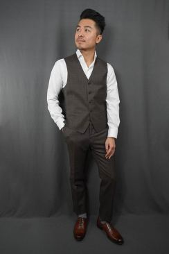 Black Lapel Charcoal Brown Check Waistcoat Fit