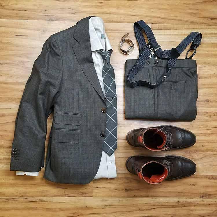 Black Lapel Charcoal Brown Check Suit Style Grid