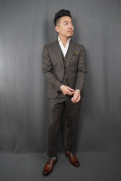 Black Lapel Charcoal Brown Check Suit Unbuttoned Buttoned Fit