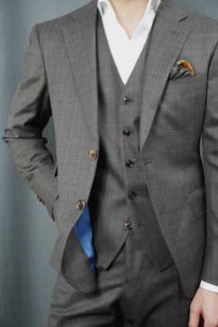 Charcoal Brown Check Suit Fit Waistcoat Detail