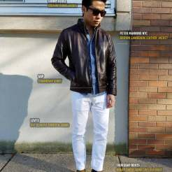Leather Jacket And White Jeans And Chelsea Boots | GENTLEMAN WITHIN