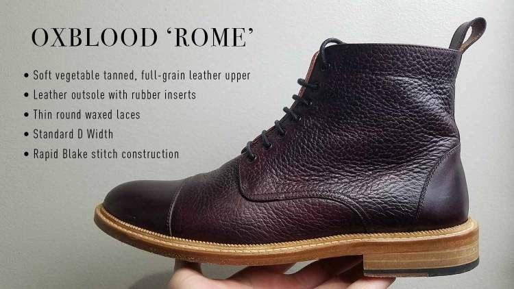 Taft Rome Boot In Oxblood Colorway