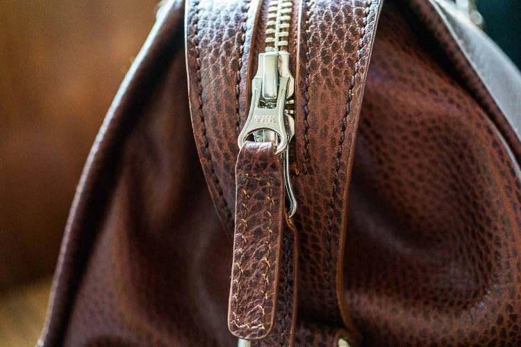 Davis Weekender Leather Bag YKK Zipper Detail