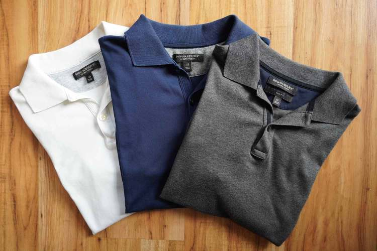 Banana Republic Luxury Touch Polos White Navy Grey Colors