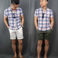 Madras Short Sleeve Button Down Shirt Outfit