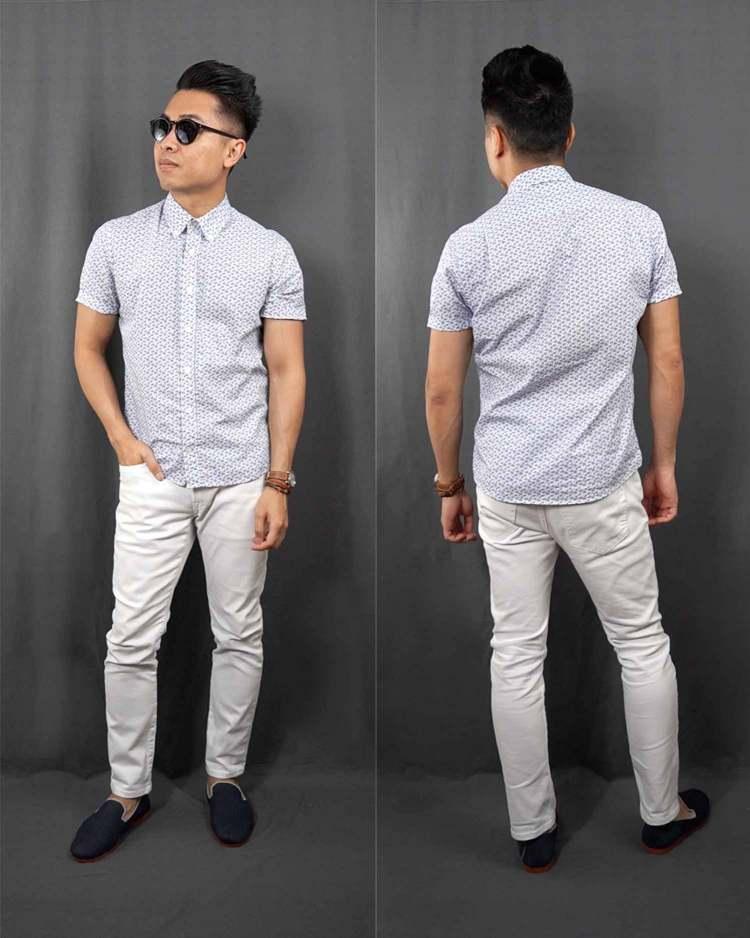 Micro Dot Pattern Short Sleeve Button Down Shirt