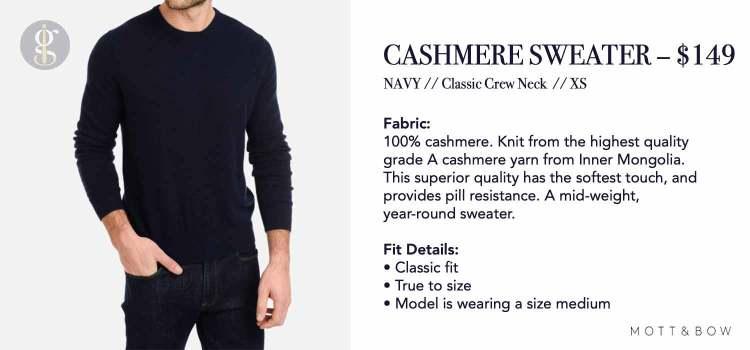 Mott & Bow Cashmere Sweater Details