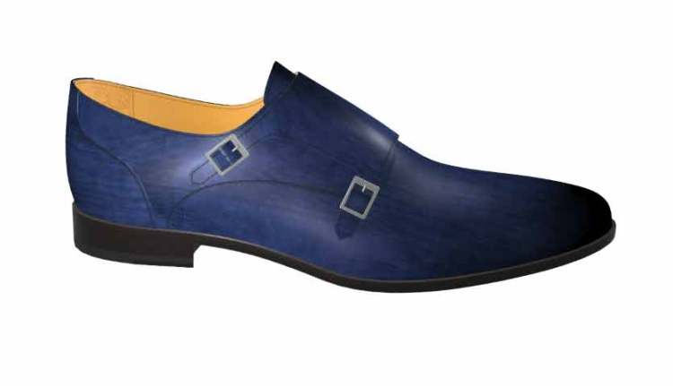Blue Leather Double Monkstrap