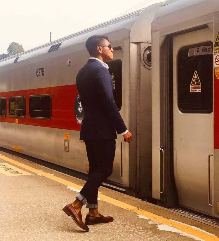 Loafers Blazer Jeans Boarding Train