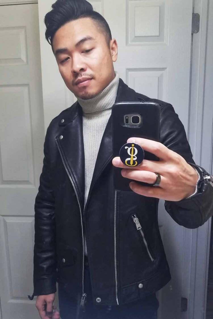 allsaints milo biker leather jacket selfie