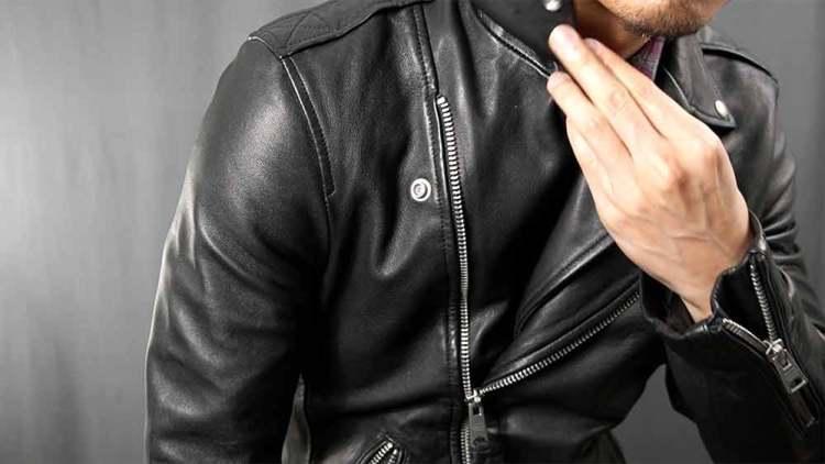 button down leather jacket lapels
